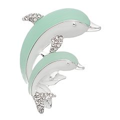 Napier Silver and Blue Tone Dolphin Pin