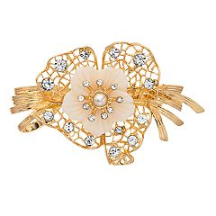 Napier Gold and White Tone Flower Leaf Pin