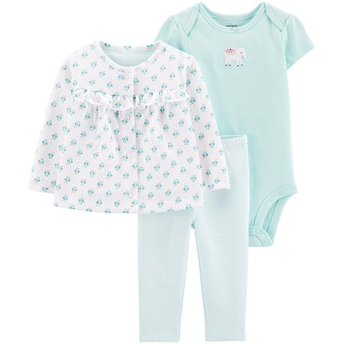 Baby Girl Carter's 3 Piece Floral Cardigan, Bodysuit & Pants Set