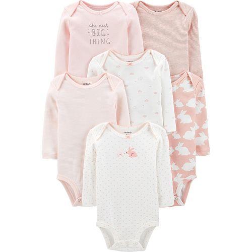 Baby Girl Carter's 6 Pack Bunny Bodysuits