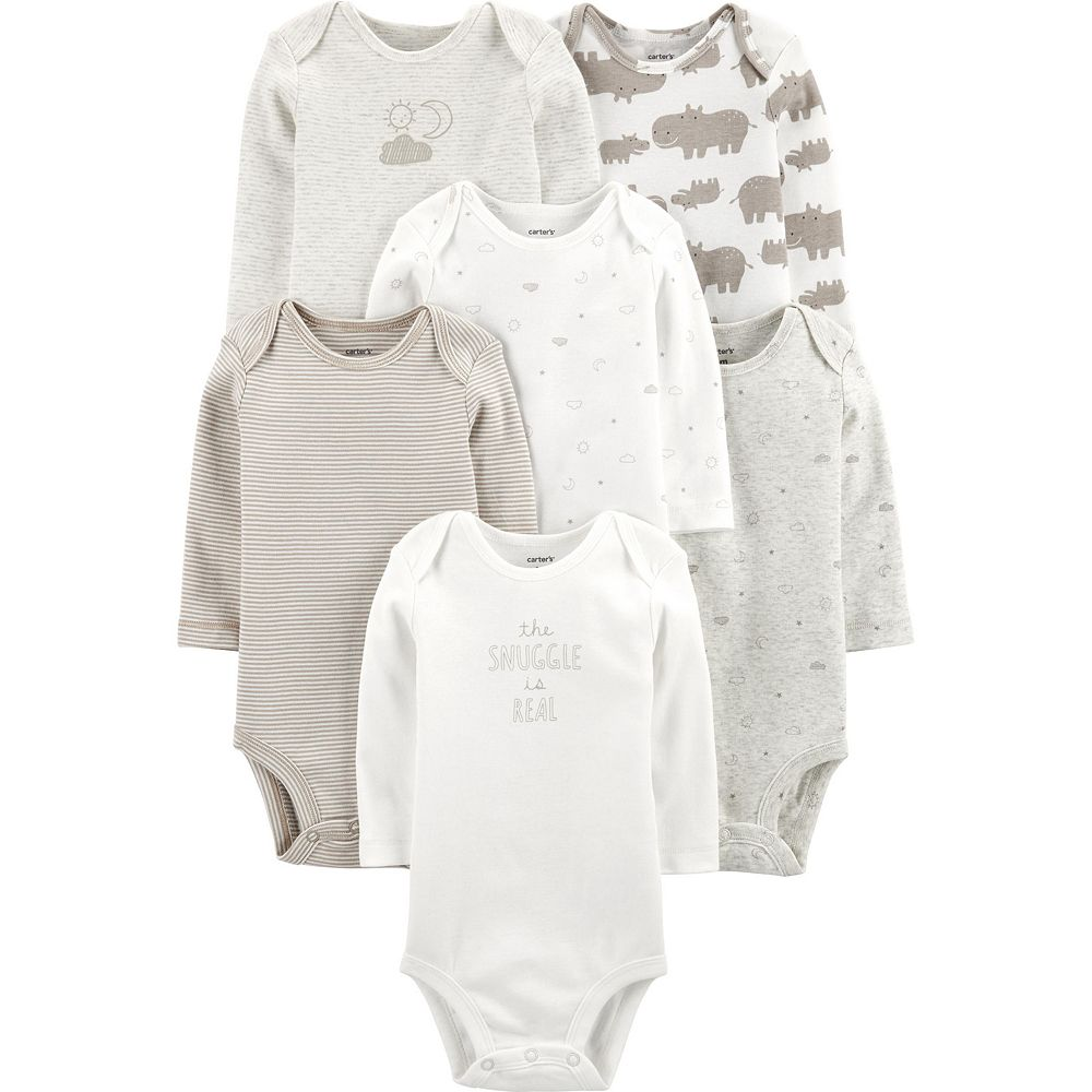 Baby Carter's 6 Pack Hippos, Sun & Moon Bodysuits