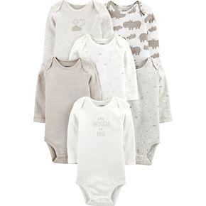 Baby Carter's 6 Pack Hippos, Sun & Moon Bodysuits