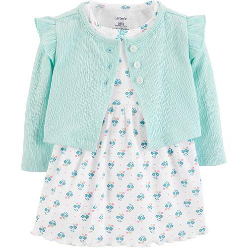 Baby Girl Carter's Gauze Cardigan & Floral Dress Set