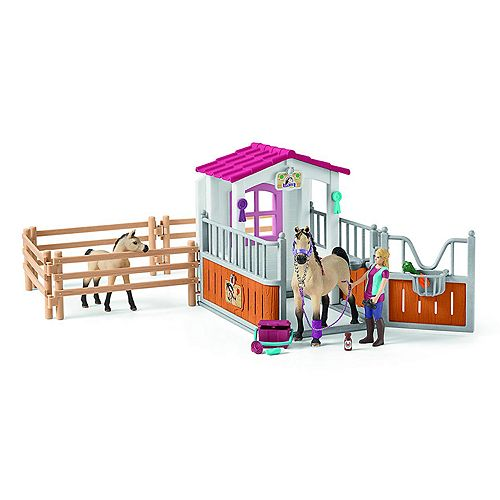 Schleich Horse Club Horse Stall with Arab Horses and Groom Toy Figure