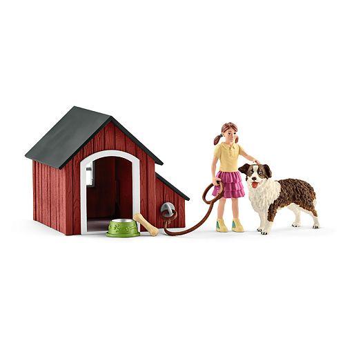 Schleich Farmland Dog Kennel and Girl Set