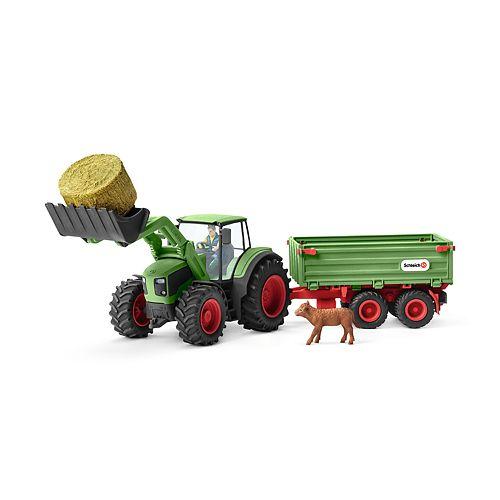 Schleich Farm World Tractor with Trailer Toy Figure
