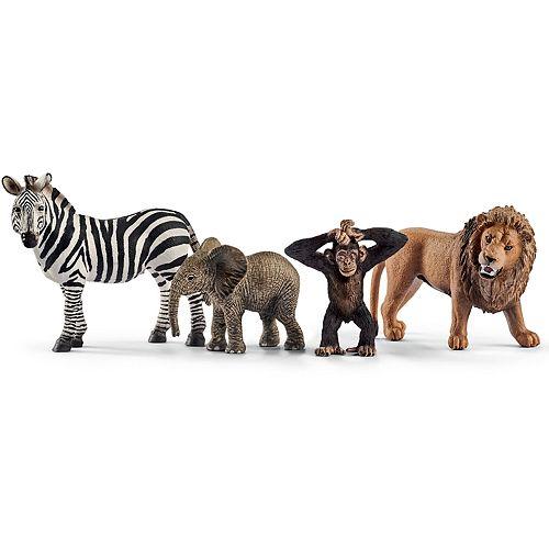 Schleich Wild Life Wild Life Figure Starter Set (Zebra Lion Monkey Elephant)