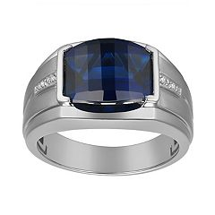 Men's Gemstone & Diamond Accent Sterling Silver Ring