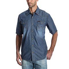 6a1ec37ad77 Men s Wrangler Denim Snap-Front Shirt. Surf The Web Indigo Dobby Bleached  ...