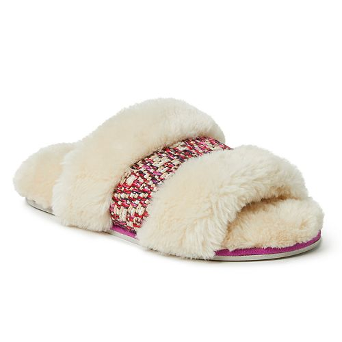 Women's Dearfoams Plush Open Toe Slippers