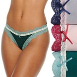 Women's It's Just A Kiss Micro Fiber Thong with Lace