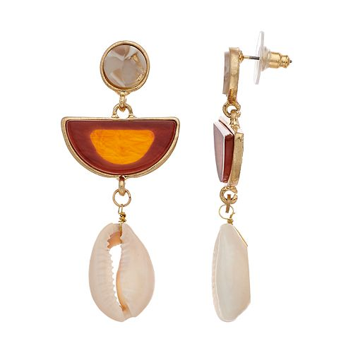SONOMA Goods for Life™ Dangling Shell with Wooden Disc Earrings
