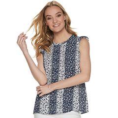 dfaed2356a0 Women s ELLE™ Pleat-Front Flutter-Sleeve Top