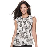 Women's ELLE? Pleat-Front Flutter-Sleeve Top
