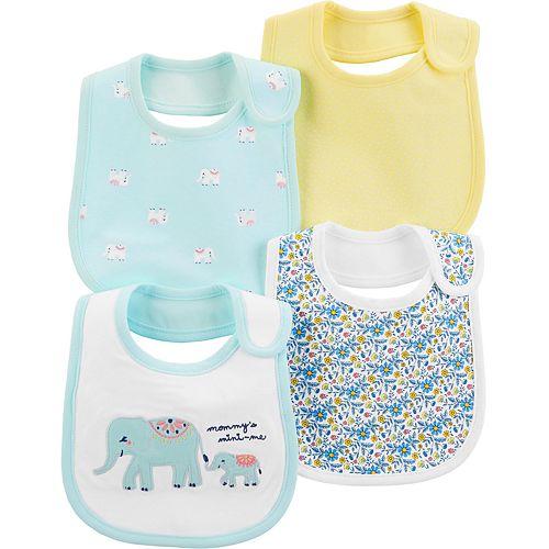 Baby Girl Carter's 4 Pack Patterned Elephant Bibs