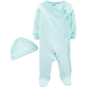 Baby Girl Carter's Side Snap Sleep & Play Hat Set