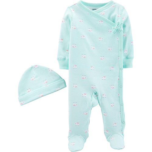 Baby Girl Carter's Side Snap Sleep & Play Hat Set