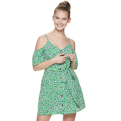 Juniors' Speechless Button Front Wrap Dress