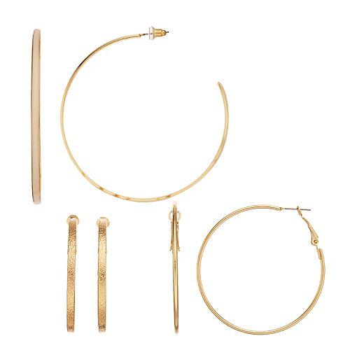 Women's SO® Gold Tone Hoop Trio Earrings