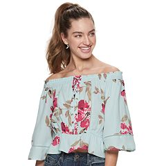 Juniors' American Rag Off-The-Shoulder Lace Up Top