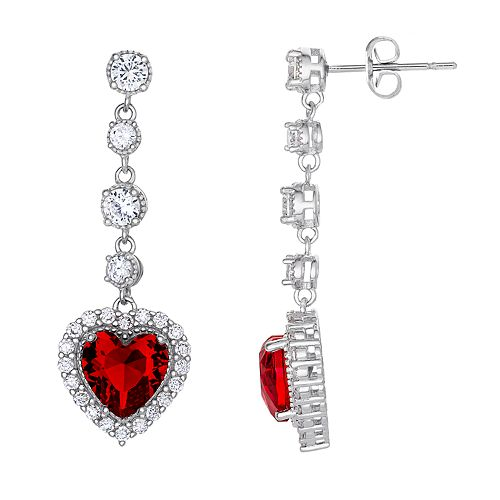 Silver Plated Simulated Ruby Heart & Cubic Zirconia Linear Drop Earrings