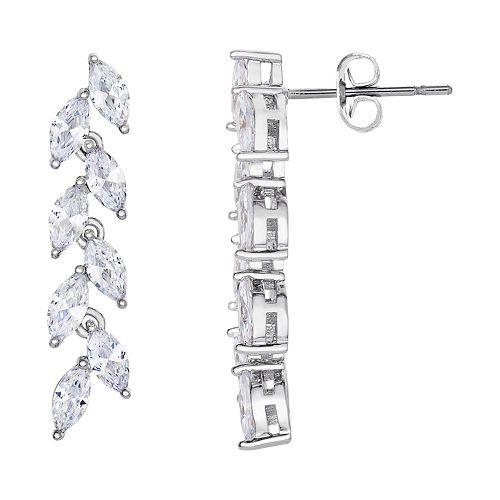 Silver Plated Cubic Zirconia Linear Drop Earrings