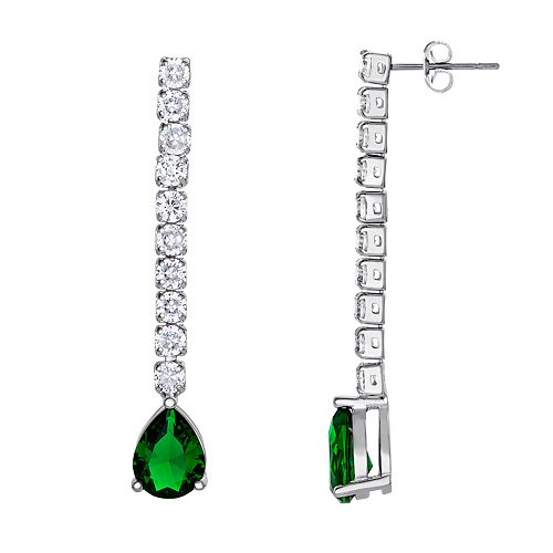 Silver Plated Simulated Emerald Teardrop & Cubic Zirconia Linear Drop Earrings
