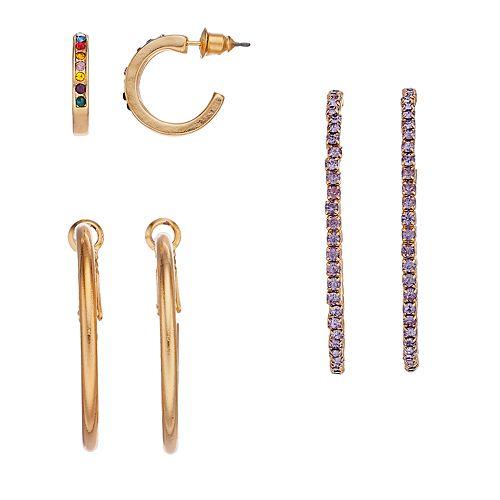 Women's SO® Stoned Trio Earrings
