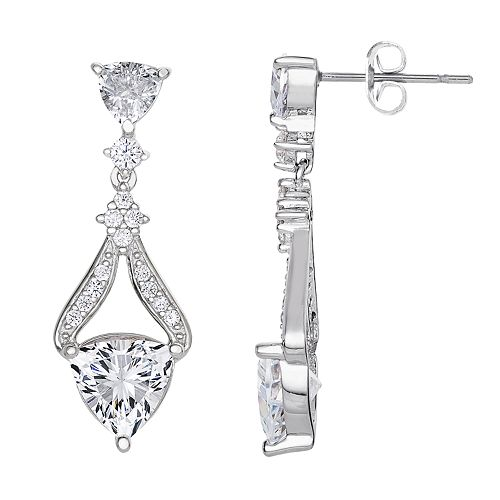 Silver Plated Cubic Zirconia Dangle Drop Earrings