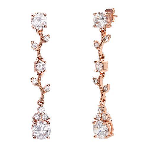 City Lights Rose Gold Tone Cubic Zirconia Vine Earrings