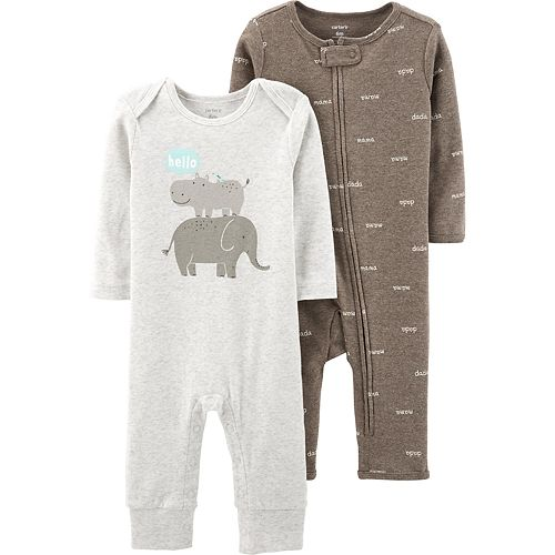 Baby Carter's 2 Pack Elephant & Hippo Jumpsuits