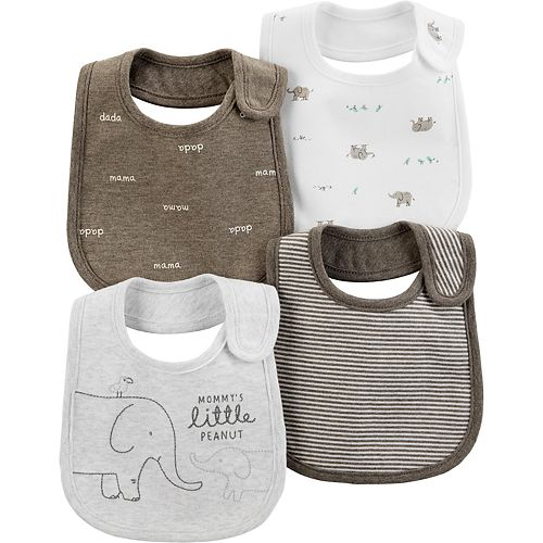 Baby Carter's 4 Pack Patterned Elephant Bibs
