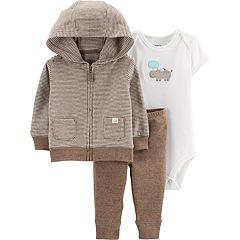 Baby Carter's 3 Piece Zip Hoodie, 'Hello' Hippo Bodysuit & Pants Set