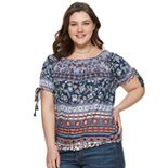 Juniors' Plus Size American Rag Short Sleeve Peasant Top