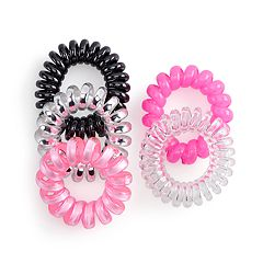 SO® Pink & Black Phonecord Ponytail Holder Set