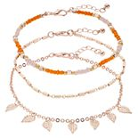 SO® 3-pc. Leaves & Beads Anklets