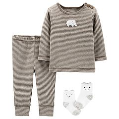 Baby Carter's 3 Piece Elephant Striped Top, Pants & Socks Set