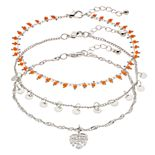 SO® 3-pc. Palm Leaf Anklets
