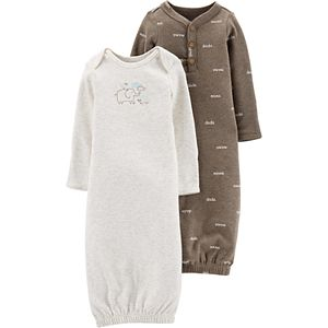 Baby Carter's 2 Pack Elephant Henley Sleep Gowns