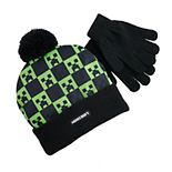Boy's Minecraft Creeper Knit Hat & Glove Set