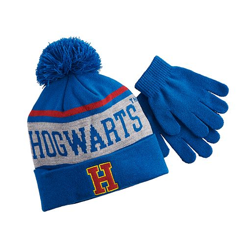Boys 4-20 Harry Potter Hogwarts Pom Hat & Gloves Set