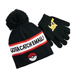 Boys 4-20 Pokemon Pikachu Pom Hat & Gloves Set