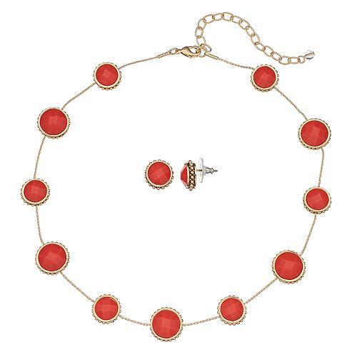 Napier Collar Necklace & Button Stud Earring Set