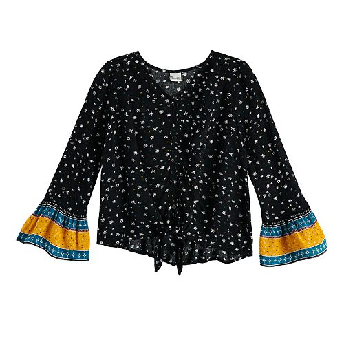 Girls 6-16 Mudd® Tie-Front Woven Peasant Top