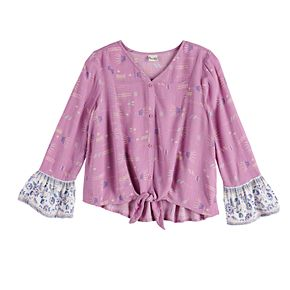 Girls 7-16 Mudd® Tie-Front Woven Peasant Top