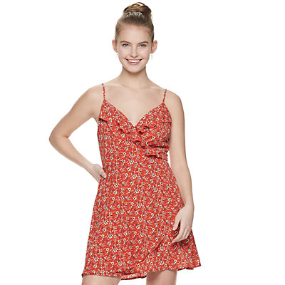 Juniors' Speechless Print Ruffle Faux-Wrap Dress