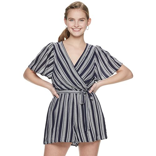 Juniors' Three Pink Hearts Striped Romper