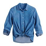 Girls' SO® One-Pocket Button-Front Shirt