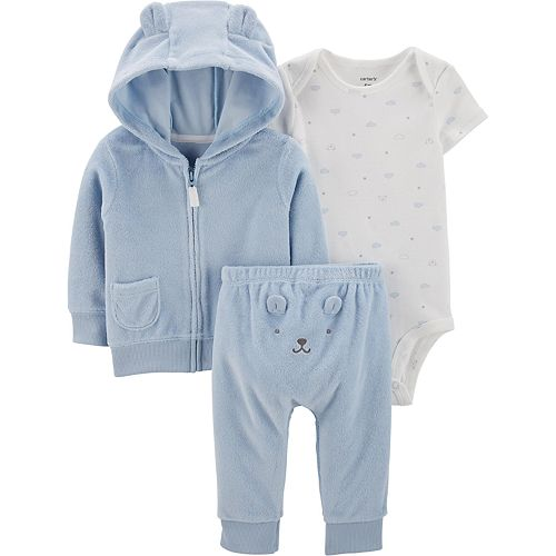Baby Boy Carter's 3 Piece Terry Zip Hoodie, Bodysuit & Turn Me Around Pants Set