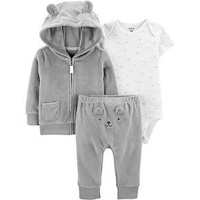 Baby Carter's 3 Piece French Terry Zip Hoodie, Bodysuit & Turn Me Around Pants Set